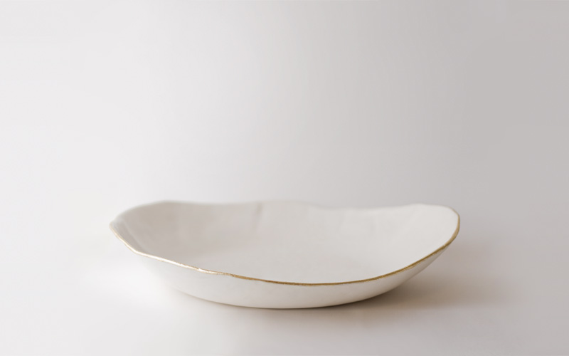 up in the air somewhere | dishes | gold lip platter :  serveware decorate dish white